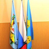 Знамёна в кабинете на подставке