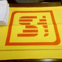 печать фотопледа с логотипом